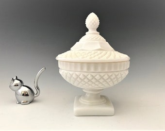 Westmoreland Waterford Milk Glass Candy Jar - Mid Century Covered Candy