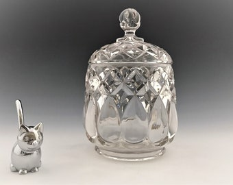 EAPG Covered Sugar Bowl - Adams and Company Art Pattern (OMN) - AKA Job's Tears - Early American Pattern Glass - Circa 1889