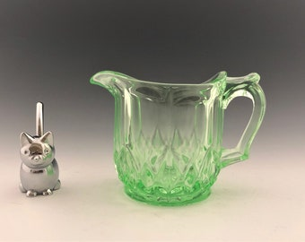 Uranium Glass Creamer - Bartlett-Collins No. 65 - Green Depression Glass - Berry Cream Pitcher - Glowing Glass - Hard to Find