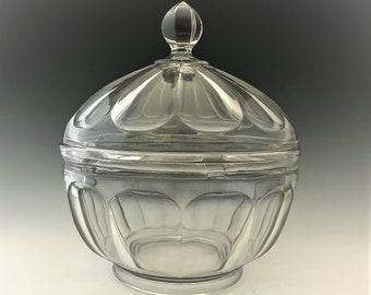 Heisey #353 Medium Flat Panel Crushed Fruit Bowl - Vintage Hard to Find Covered Bowl