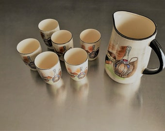 Vintage Capri by Royal Sealy Wine/Sake Pitcher With Six Tumblers - Japan - Sake Pitcher Set - Sake Cups