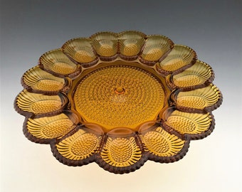 Amber Hobnail Deviled Egg Dish - Indiana Glass - Thousand Eyes Pattern - Relish Plate