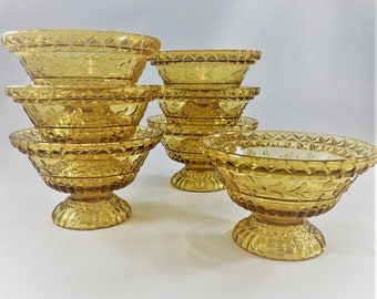 Set of 7 Vintage Amber Bowls - Footed Sauce Bowl - Adams and Company Wildflower Pattern - Vintage Amber Glass
