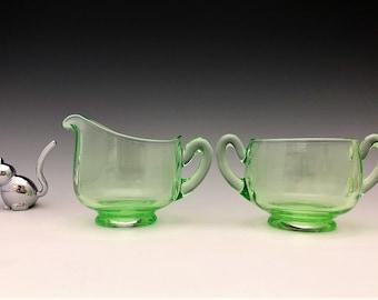 Cambridge Glass Breakfast Set (No. 138) - Signed - Depression Era Elegant Glass Creamer and Sugar Bowl - Glowing Uranium Glass