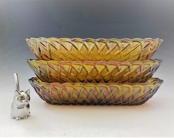 Set of 3 Indiana Glass Pretzel Pattern (#622) Oval Celery Bowls - Iridescent Gold - Carnival Glass