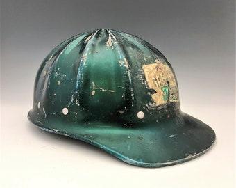 "Vintage Aluminum Construction Hard Hat - Green Fibre Metal Helmet - ""Super Lite"" Design - Industrial Helmet"