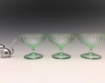 3 Uranium Glass Sherbets - U.S. Glass Swirl Pattern - Green Depression Glass - Champagne Glasses - Glowing Glass
