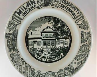 Rare Milan Indiana Community Centennial Commemorative Plate - 1954 - Vintage Americana - Green Transferware