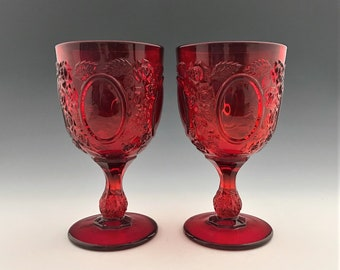 LG Wright Mirror and Rose Goblets - Hard to Find Ruby Red Wine Glasses