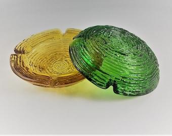 Set of 2 Classic Anchor Hocking Soreno Glass Ashtrays - Swirl Design - Amber and Green Ashtrays - 6 1/4 Inch Diameter