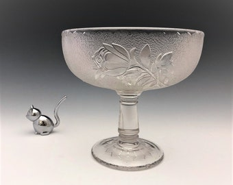 EAPG Compote - Campbell, Jones and Company No. 125 (OMN) - AKA Rose in Snow - Early American Pattern Glass - Circa 1883