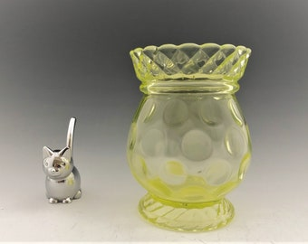 EAPG Spooner - Central Glass No. 796 (OMN) - AKA Thumbprint and Rope Band - Vaseline Glass - Early American Pattern Glass - Circa 1885