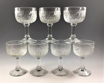 Set of 7 Jeannette Iris Liquor Cocktail Glasses - Iris and Herringbone - 4 Ounce Glasses - Hard to Find