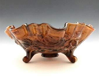 Imperial Open Rose Slag Glass Bowl (74C) - Double Crimped Bowl - Three-Toed Bowl - Hard to Find