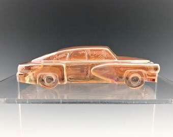 Vintage Boyd Glass Tucker Car - Iridescent Carnival Glass Automobile