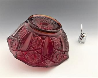 L.E. Smith Heritage Pattern Ruby Red Bowl - Crimped Rim Bowl - Pressed Red Glass Dish - Geometric Quintec Design