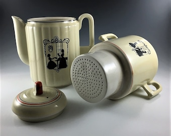 "Vintage Porcelier Porcelain Coffee Pot and Infuser - Ribbed Betty Pattern - ""Piano Lesson"" Colonial Silhouette - Hard to Find"