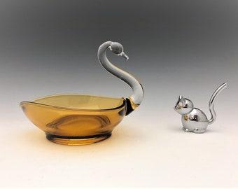 Viking Glass Elegant Amber Swan - Vintage Art Glass Swan Dish