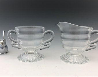 Indiana Glass Christmas Candy Pattern (#624) Breakfast Set - Creamer and Sugar Bowl