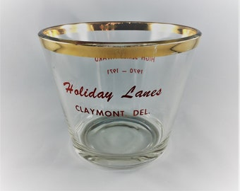 Vintage Bowling Award - Classic Bowling Trophy - High Series Award - Holiday Lanes - Claymont, Delaware - Vintage Glass Bowl