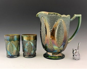 Westmoreland High Hob Water Set - Made for Levay - Opalescent Green Carnival Glass - Limited Edition - Hard to Find - Pitcher and 6 Tumblers
