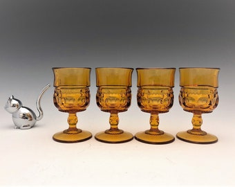 Set of 4 Indiana Glass King's Crown Cordials - Vintage Amber Glass