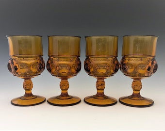 Set of 4 Indiana Glass King's Crown Water Goblets - Vintage Amber Glass