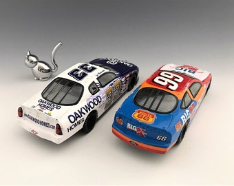 Set of Two NASCAR Die Cast Metal Race Car Toys - Darrell Waltrip and Al Nemechek