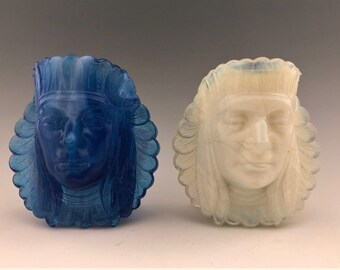 Two Boyd Glass Indian Head Toothpick Holders - Vintage Glass Indian Chief