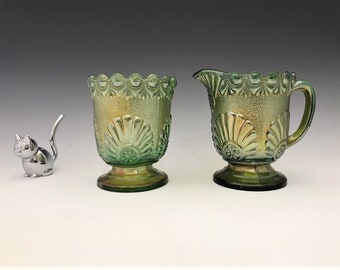 Westmoreland Shell and Jewel Breakfast Set - Carnival Glass Creamer and Sugar Bowl - Iridescent Glass