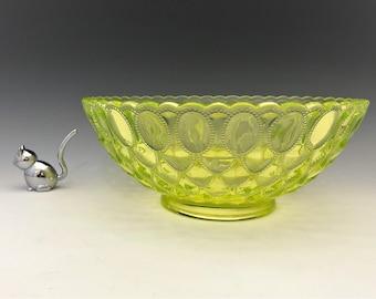 Mosser Vaseline Glass Bowl - Elizabeth Pattern - Beaded Oval Motif - Fostoria No, 1229 Frisco Reproduction - Glowing Glass Bowl