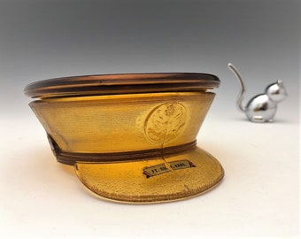 Paden City Amber Glass Military Hat Puff Jar - Cover Puff Box - Army Hat Glass Jar - Covered Jar - Fort Riley Kansas