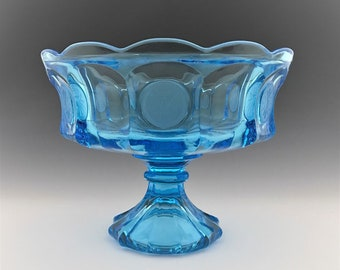 Fostoria Coin Glass - Light Blue - Compote Dish - Scalloped Bowl