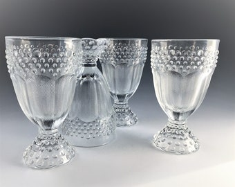 Set of Three (3) Gorham Emily's Attic Clear Water Goblets - Hobnail and Herringbone Design