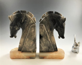 Vintage Stone Horse Head Bookends - Onyx - Marble - Alabaster - Mid Century Bookends - MCM Decor