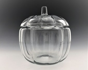 Vintage Anchor Hocking Clear Glass Pumpkin/Gourd Shaped Storage Jar/Canister with Lid