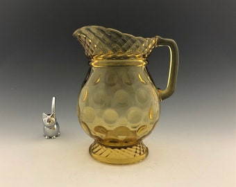 EAPG Amber Pitcher - Central Glass No. 796 (OMN) - AKA Thumbprint and Rope Band - Early American Pattern Glass - Circa 1885