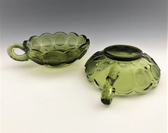 Set of 2 Fostoria Coin Glass Olive Green Nappy Bowls - Handled Bowls