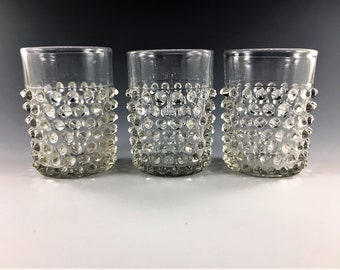 Set of 3 EAPG Tumblers - Columbia Glass Company - Dew Drop Pattern - Hobnail Double Eye - Circa 1888 - Early American Pattern Glass