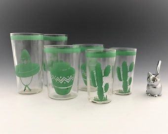 Set of 6 Vintage Fiestaware Go-With Tumblers - Set of 6 Green Graphic Tumblers - Hard to Find Glasses