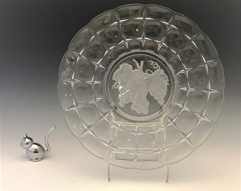 Indiana Glass Constellation Pattern (#300) Cake Plate - Etched Fruit Intaglio Decoration - Hard to Find