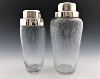 Set of 2 German Crackle Glass Cocktail Shakers - Mid Century Barware - Silver Plated Tops