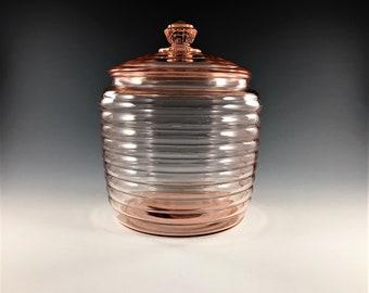 Vintage Hocking Glass Cookie or Biscuit Jar - Pink Depression Glass - Horizontal Rib Pattern