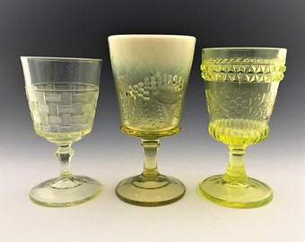 Set of 3 Vaseline Glass Goblets - Co-Operative Flint and LG Wright - Basketweave - Strawberry and Currant - Wildflower - Glowing Glass