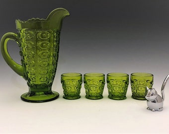 Viking Glass Yesteryear Pattern Pitcher Set - Green Bullseye Pattern - Small Pitcher and Glasses - Mid Century Barware