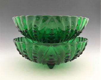 Set of 2 Anchor Hocking Burple Green Glass Bowls - Large Dessert Bowls - 8 1/2 Inch Diameter