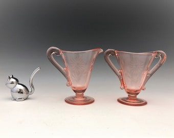 Lancaster Glass #737 Breakfast Set With Floral Cutting - Elegant Pink Glass - Creamer and Open Sugar Bowl