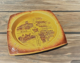 Vintage Tourist Souvenir Ashtray - Busch Gardens - Square Ceramic Ashtray