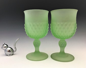 Indiana Glass Green Satin Diamond Point Goblets - Set of Two Glasses