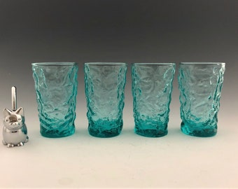 Anchor Hocking Milano Aqua Flat Juice Glasses - Set of 4 - Hard to Find - Mid-Century Drinkware